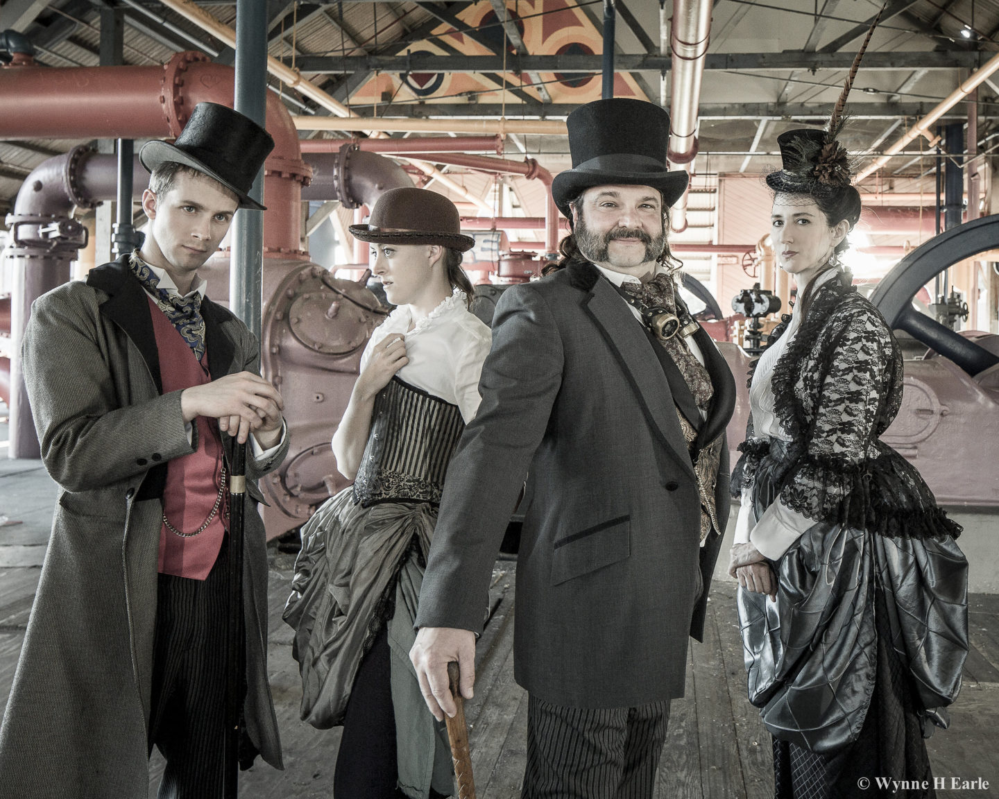 steampunk, brass family, brass, actors, acting, costume, gasworks